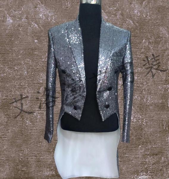 Men Tuxedo Suits Designs Stage Costumes For Singers Men Sequin Blazer Dance Clothes Jacket Style Dress Punk Silver Gold Fashion