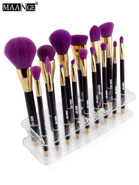 15 Unidades de Maquillaje Pinceles Holder Display Mostrando Estante Rack Blending Brush Stand Tablero de acrílico Estante de secado Organizador de maquillaje Almacenamiento