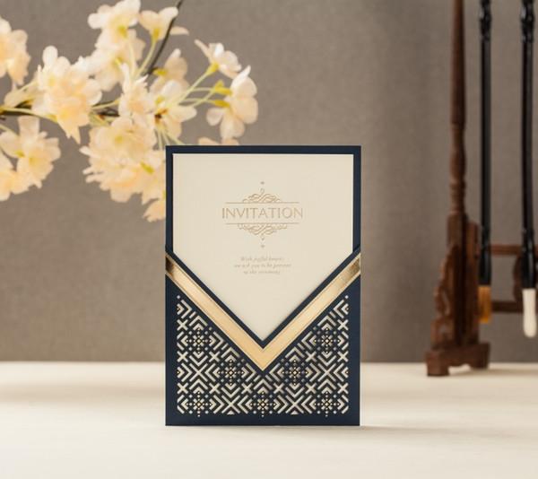 Compre 100 Unids Cw8209 B Navy Blue Foil Corte Láser Invitación De Boda Envío Gratis Para Imprimir Saludo Personalizado Tarjeta De Cumpleaños A