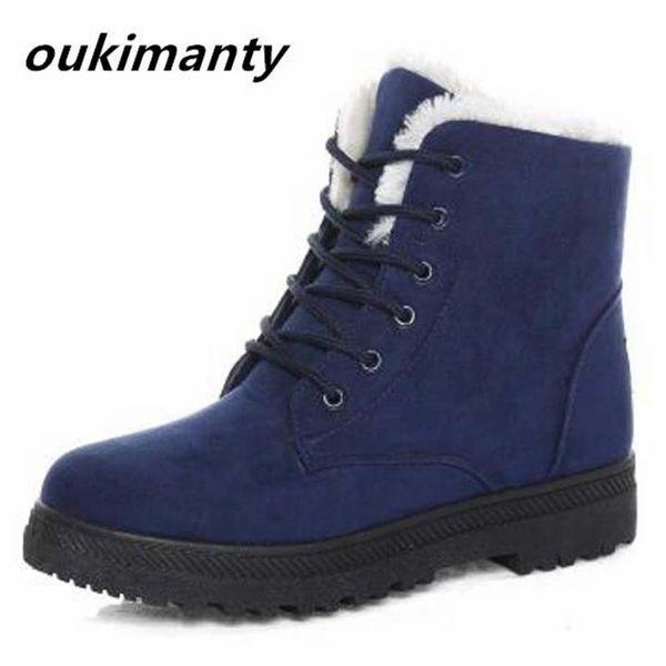 winter women boots warm faux fur snow boots lace up fashion platform women shoes ankle black
