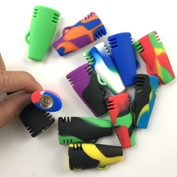 """One hitter pipes Silicone Oil Burner Pipe 2"""" Unbreakable Smoking Pipes Portable Tobacco Pipes Detachable Metal Bowl Heat Resistant Mini Pipe"""