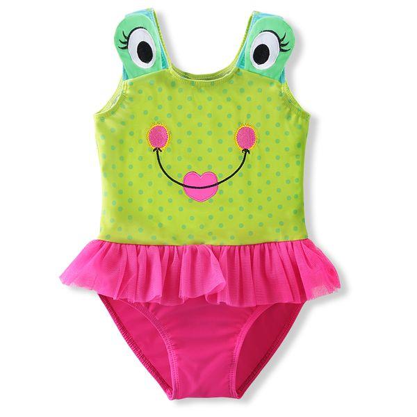 Sommer-nette kleine Frosch-Muster-Baby-Badebekleidungs-Baby-Badebekleidungs-einteiliger Anzug schwimmen Monokini-Mädchen-Badeanzug-Kleid-Bikini 2-9Y