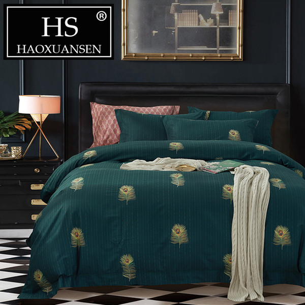 HS Green Bed Sheet Duvet Cover Peacock Feather Bed Set King Size Bedding Set  Queen Size Cotton Comforter Christmas Bedding