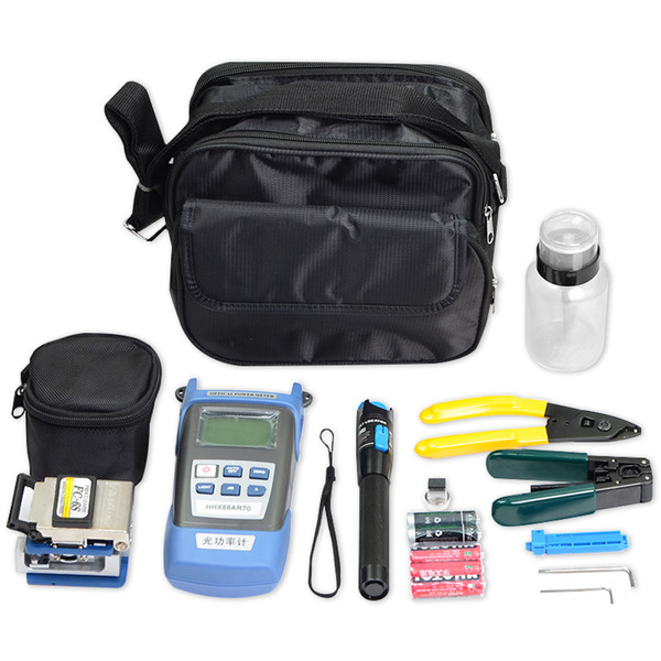 Fiber Optic Tool Kit with FTTH FC-6S Fiber Cleaver and Optical Power Meter 5km VFL Tester Visual Fault Locator Wire Stripper