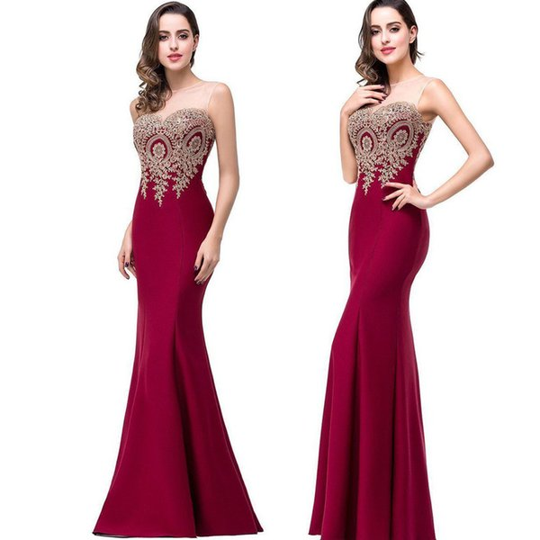 2018 Seksi Şeffaf Boyun Kolsuz Tasarımcı Abiye Mermaid Dantel Aplike Uzun Gelinlik Modelleri Kırmızı Halı Ucuz Gelinlik Giydirme