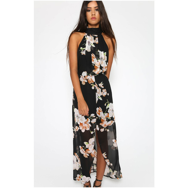 Italy plant motifs selling fashion sexy halter hanging neck printed women dress