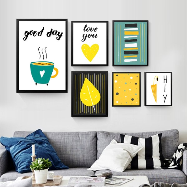 Creative Nordic Prints Coffee Umbrellas Heart-Shaped Leaves Poster Good Day Hey Letters Painting Art Canvas Pictures Wall Decor