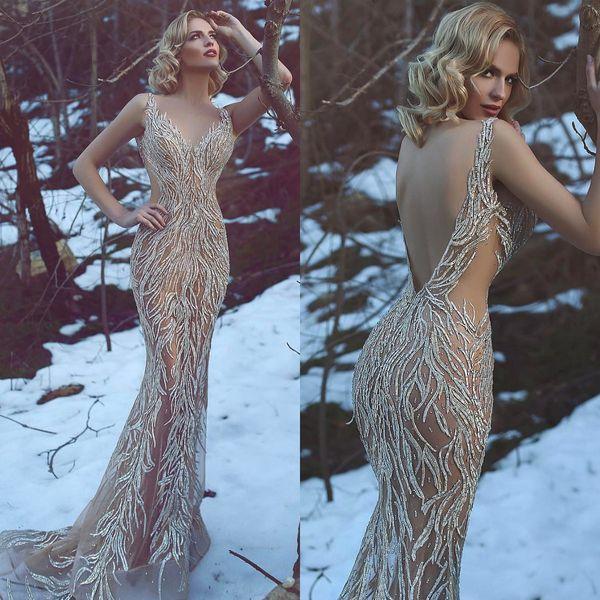 2018 abiti da sera di lusso su misura di alta qualità scollo a V a mano paillettes illusione strass backless sirena prom dress
