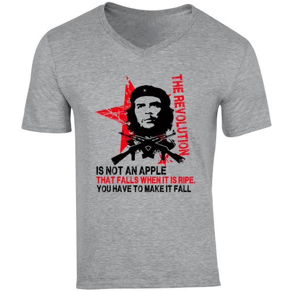 CHE GUEVARA EIN APFEL-ZITAT - NEUER BAUMWOLLGRAU V-AUSSCHNITT TSHIRTRETRO VINTAGE Klassisches T-Shirt