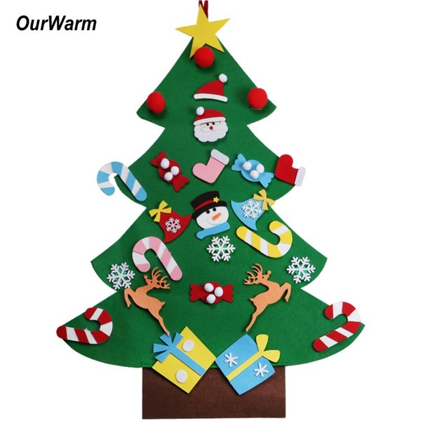 OurWarm DIY Felt Christmas Tree New Year Gifts Kids Toys Artificial Tree Wall Hanging Ornaments Christmas Decoration for Home