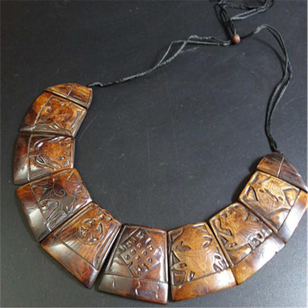 Ganze saleTNL242 tibetischen Yak Knochen geschnitzt Lucky Babao Amulett Anweisung Choker Halskette ethnischen Modeschmuck