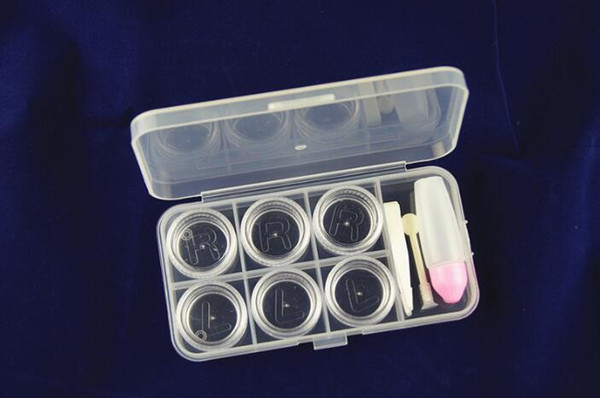 Free DHL Now hot sale 6 Grid Transparent Contact Lens Display Box Case Eyeglasses Case Eyewear Cases shipping
