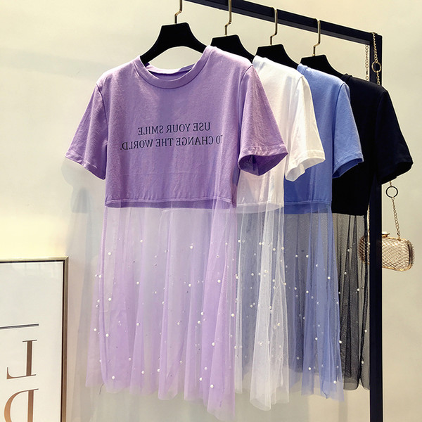 Summer harajuku women t shirt pearl beading mesh patchwork t-shirt o-neck short sleeve letters print perspective tee tops shirt