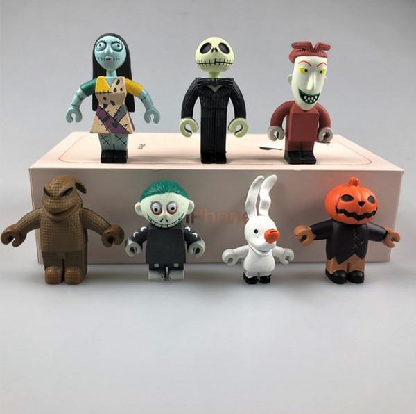 7pcs/Set Car Dolls The Nightmare Before Christmas Jack Sally Shock Zero Pumpkin Bobble Head Figure Toys Holloween Car Head Knock Dolls