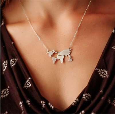 Fashion jewelry World Necklace Earth Day Gift World Map Necklace world map pendant Globe Earth map wanderlust necklace