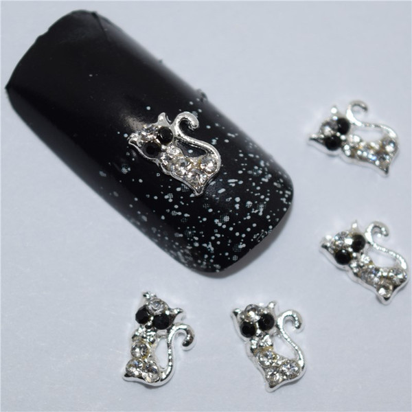 10pcs 3d nail jewelry decoration nails art glitter rhinestone for manicure White gem cat design nail accessories tools #174