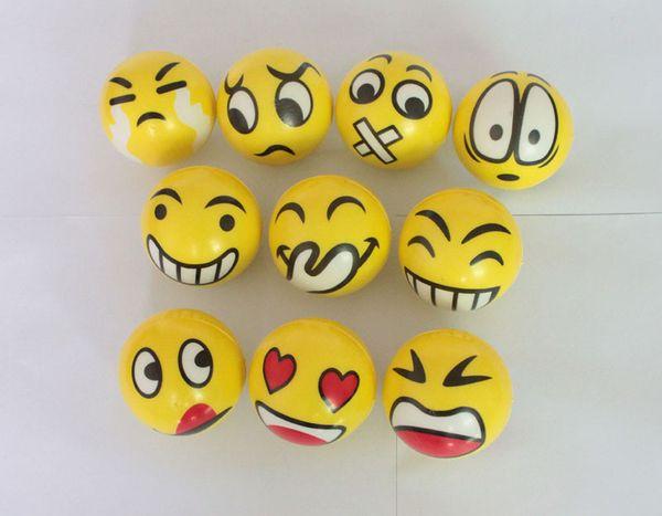 6.3cm QQ Emoji Smiling face ball Stress Squeeze Ball Wrist Finger Training Balls Soft Sponge PU Ball Children Kids Toys DHL 0192