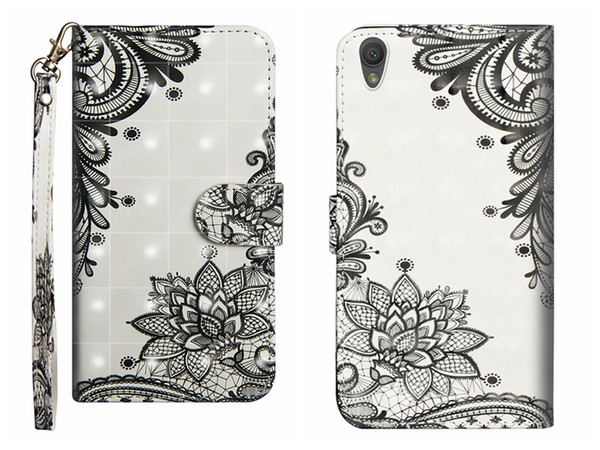 LACE Wallet Case For For Sony L2 L1 XA2 Ultra XZ2 Compact XA1 XZ1 3D Butterfly Leather Flower Panda Tree Bird Flip Cover Cartoon Wolf Coque