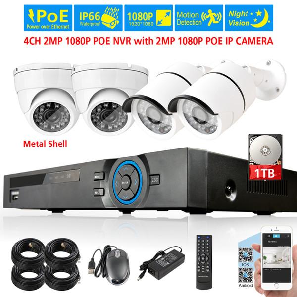 IP66 4CH 1080p network security cctv 2.0mp waterproof IP camera NVR System 4ch POE NVR Kit Video Surveillance set HDMI 1080P