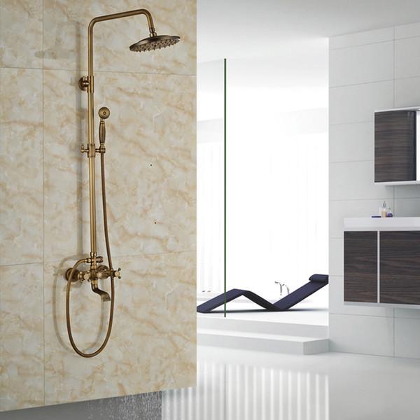 Wall Mount Rainfall Bath Shower Mixer Taps Brass Antique Bathroom Shower Set Column Dual Handle Shower Faucet 360 Rotate Spout