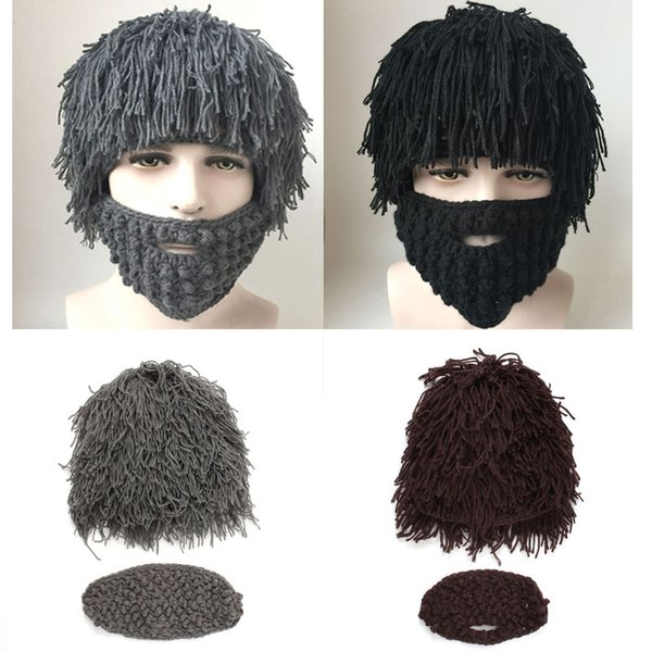 Winter Fashion Wig Beard Hats Cosplay Mad Scientist Rasta Caveman Knit Warm Cap Men Halloween Gift Funny Party Mask Beanies Free DHL D353S
