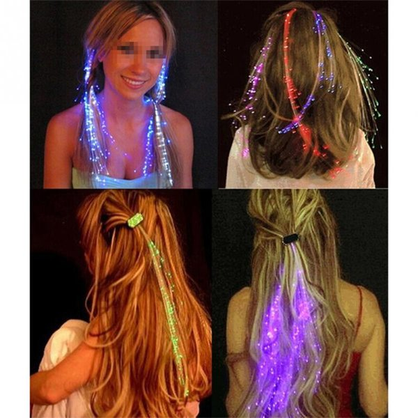 LED Hair Extension Flash Braid Party Girl Hair Glow By Fiber Optic for Party Christmas Halloween Night Lights Accessories