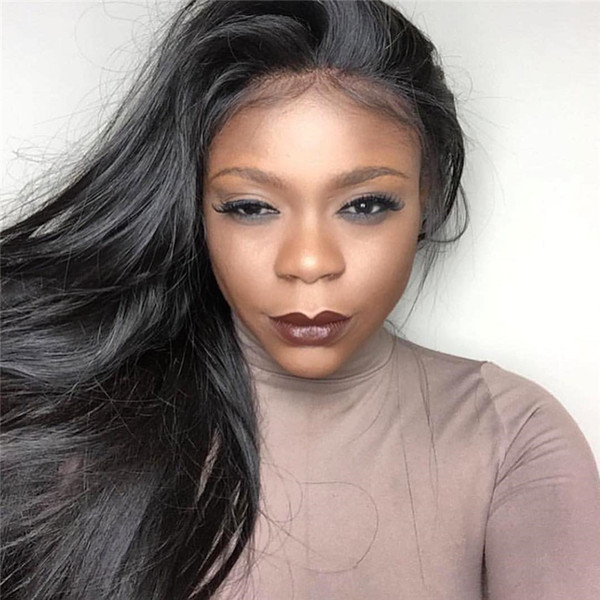 Best Silky Straight Lace Wigs With Bangs Brazilian Full Lace Human Hair Wig With Bangs For Black Women 130%Density Full Lace Wig