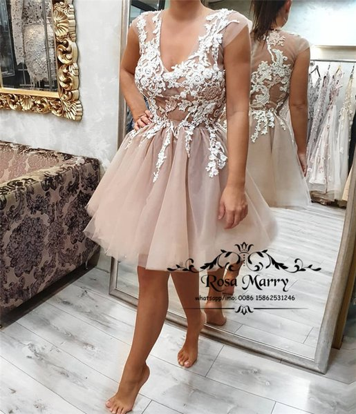 5fed782628cda Sexy Illusion Short Cheap Prom Dresses 2019 A Line Cap Sleeves Vintage Lace  Knee Length Sheer Back Formal Homecoming Evening Party Gowns Sweetheart ...