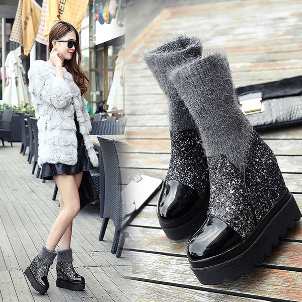 2018 winter new fashion warm middle tube Sequin wedge women's boots wool socks increased  boots super high heel short boot