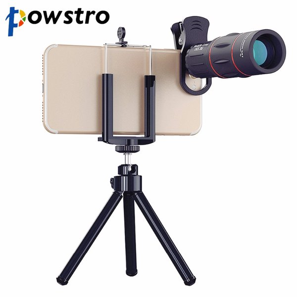 wholesale 1000m 18X Zoom Telescope Mobile Phone Lens 2 in 1 Universal Clips Telefon Camera Lens with Tripod for iPhone Samsung