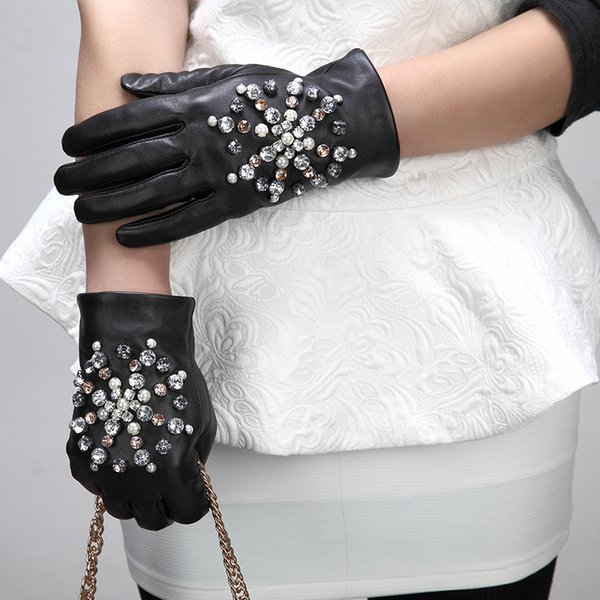QLZW 2018 Mode Vollfinger Strass Inlay Schaffell Handschuhe Lässig Trendy Herbst Hohe Qualität Gezeiten Frauen All-mathch BE491