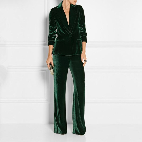 Nouveau ElePant Suits Slim Femmes Bureau Suits D'affaires Tenue de travail formelle 2 Pièces Ensembles Vert Foncé Velours Dames Pantalon