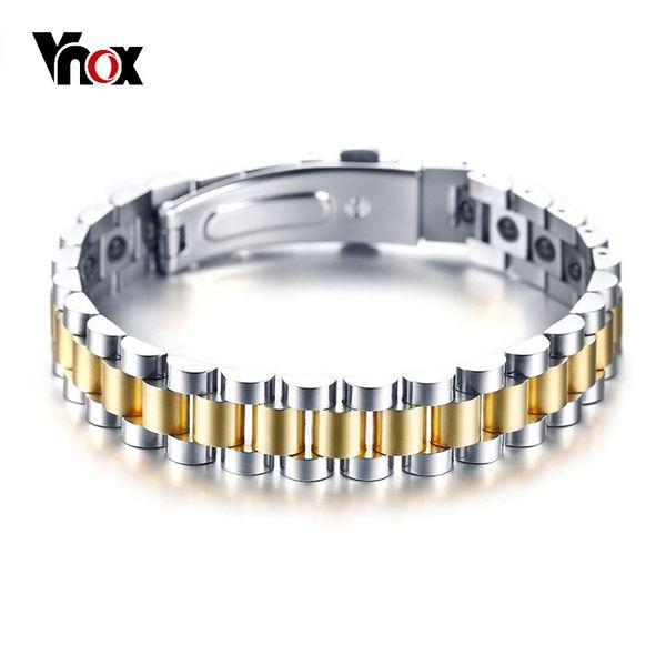 Vnox bio poder pulseiras de energia para as mulheres homens hematita pedras pulseira de aço inoxidável estilo unisex jóias pulseira