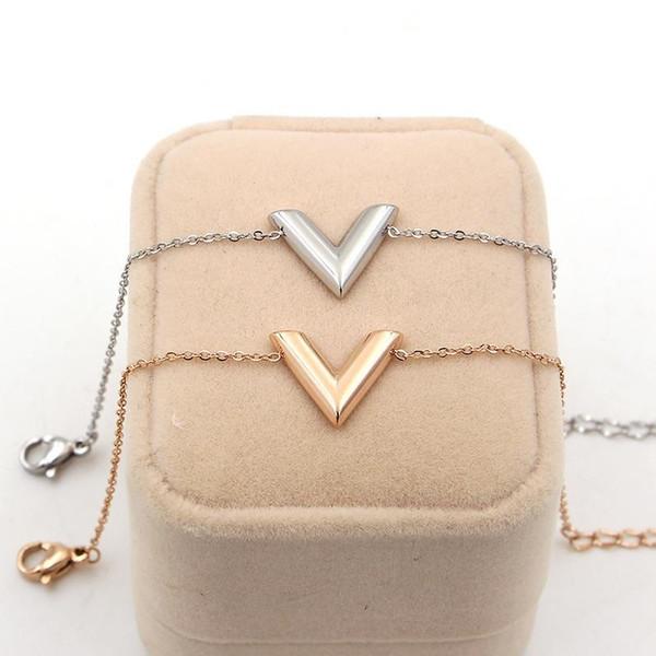 316L titanium aço V carta pulseira modelos femininos Moda titanium aço banhado a ouro rosa 14k cor de ouro jóias menina presente jóias