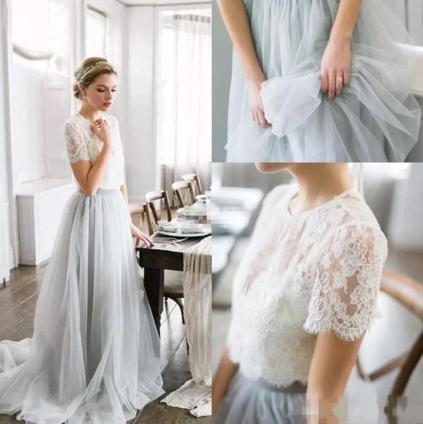 2018 estilo country boêmio vestidos de dama de honra top lace mangas curtas ilusão corpete saia de tule maid of honor vestido de noiva de praia