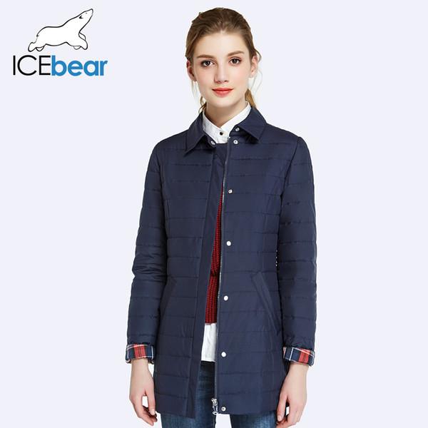 ICEbear 2017 Shirt Collar Short Parkas For Women Autumn New Fashion Cotton Padded Jacket Women Slim Thin Warm Coat 17G232D Y1891801
