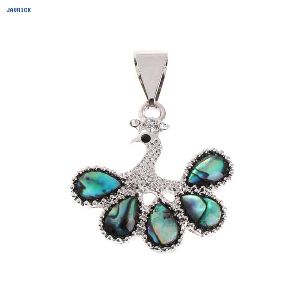 JAVRICK Peacock Shape Natural Colorful Abalone Shell Jewelry Necklace Insertion Pendant