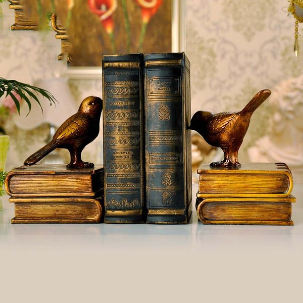 2PCS Retro bird Bookends Crafts Fake Book Bedroom Cabinet Decoration Home Furnishings Desk Bookcase Personality Resin Ornaments