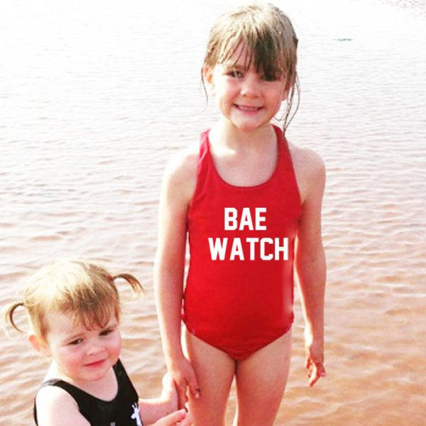 Girls Swimwear Beach Kids Letter Print One-piece Swimsuit Baby Swimming Clothes Summer Fashion Children Bikini