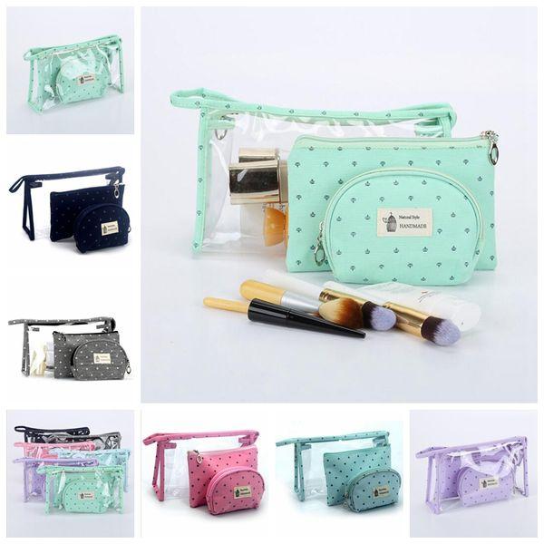 3Pcs/Set Girls Cosmetic Bags Women Waterproof Travel Make Up Bag Outdoor Toiletry Tote Cosmetics Organizer Handbag DDA767 Kids Purse