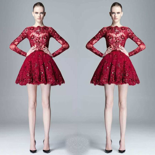 2018 Zuhair Murad primavera verano pura fiesta de encaje vestidos de graduación cuentas lentejuelas apliques vino rojo manga larga corta más el tamaño vestido de fiesta