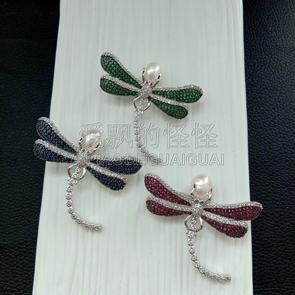BR102120 White Pearl Zircon Dragonfly CZ Crystal Brooch Women Ladies Pin