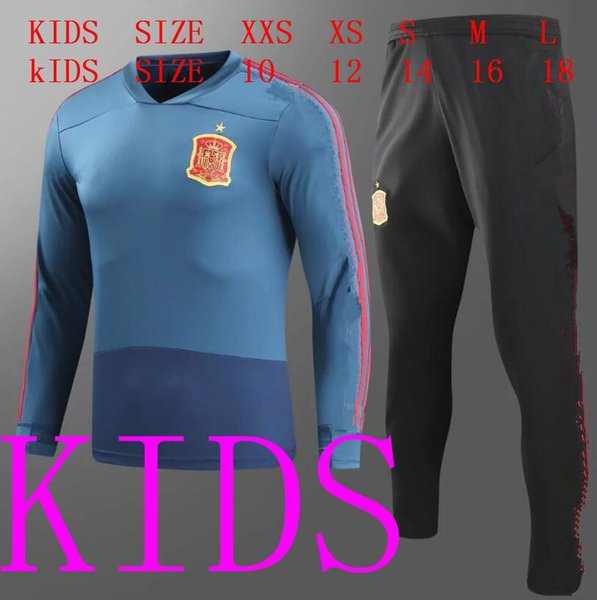 kids Spain tracksuit boy soccer Jacket suit chandal football tracksuit 18 19 kids Spain blue training suit skinny pants Sportsw thai quality