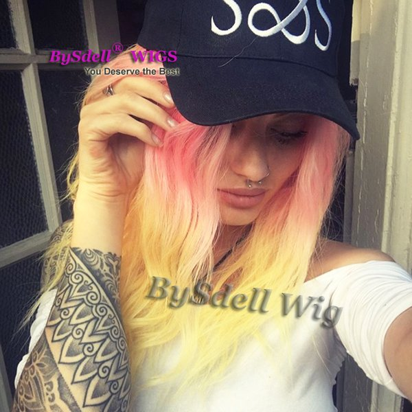 New Stylish synthetic Pastel ombre rose red ombre to yellow color hair Women lace front Wig female Mermaid Unicorn fashion lace front wigs