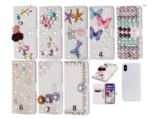 Custodia a portafoglio in rilievo di lusso 3D perla per Iphone X 8 7 Plus 6 6S 5 SE Custodia a fiore in pelle di Huawei P20 Mate 10 Lite fiore farfalla Coque Bling