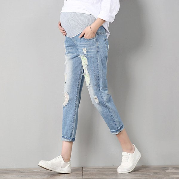 36afe6fc36a0b Maternity Pants For Pregnant Women Pregnancy Denim Jeans Spring Hole  Trousers Belly Capris Legging Clothing Overalls