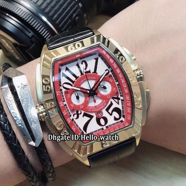 Nouvelle montre en or rose bracelet à bracelet en cuir Montre La Conquistador Ligne Conquistador GPG Blanc / Rex Dial Japon Quartz Montre Homme
