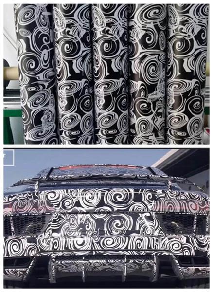 Impressionante Camo Vinyl bianco nero per Car Wrap Con bolle d'aria Stampato / VERNICIATO A mano Camouflage Car wrapping adesivi 1.52x10m / 20m / 30m Roll