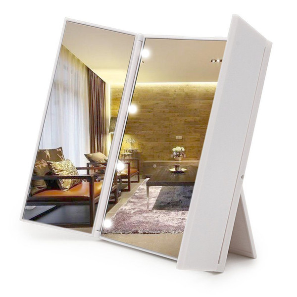 купить оптом Foldble зажгли зеркало для макияжа портативный 8 Led тщеславие путешествия стенд столешница зеркало белый цвет отushomedesign в категории
