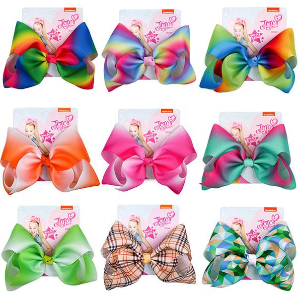 8 Inch Jojo Siwa Hair Bow Solid Color With Clips Papercard Metal Logo Girls Giant Rainbow Hair Accessories Rainbow Unicorn Print Mermaid